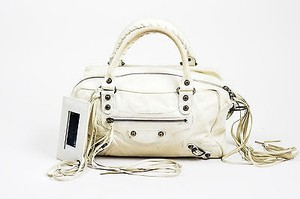 Balenciaga Box Cream Satchel in White