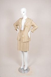 Chanel Chanel Khaki Gold Tone Coin Button Skirt Suit