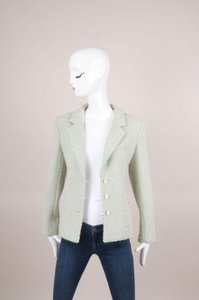 Chanel Mint Green Metallic Knit Tweed Jacket