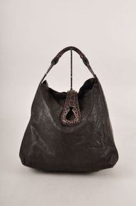 Giorgio Armani Brown Crocodile Leather Hobo Bag