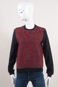 Carven Red Black Lace Front Long Sleeve Pullover Top