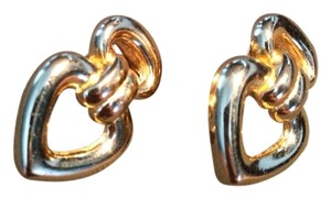 Dior Vintage Christian Dior Gold Plated Heart Clip Earrings