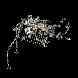 Silver Captivating Austrian Crystal Rhinestone Floral Comb Hair Accessory