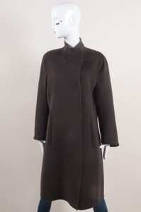 René Lezard Brown Wool Cashmere Blend Double Faced Coat