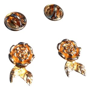 Dior Vintage Christian Dior Gold-Plated Rose Post Earrings