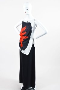 Multi-Color Maxi Dress by Dior Christian Black Red White Silk Printed Drape Gown