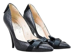 Pedro Garcia Glitter Bow Pointed Black Pumps