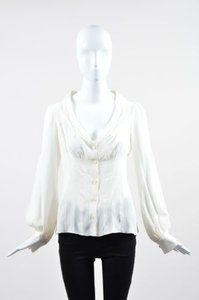 Prada Silky Pleated Top Cream