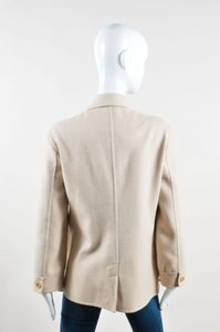 Armani Collezioni Tan Angora Cashmere Wool Ls Button Front Cream Jacket