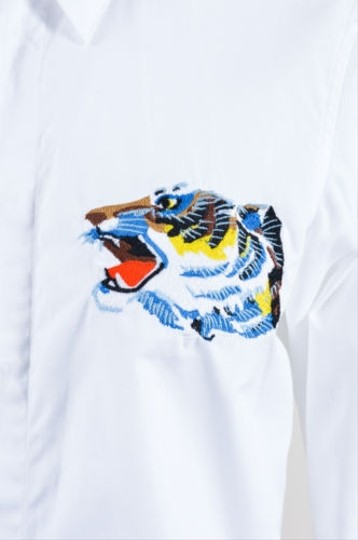 7aa638e2 durable modeling Kenzo White Multicolor Poplin Tiger Button Up Long Sleeve  Shirt Top