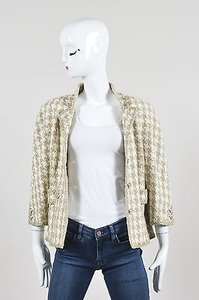 Chanel 08p Taupe White Silk Woven Houndstooth Ls Cropped Beige Jacket