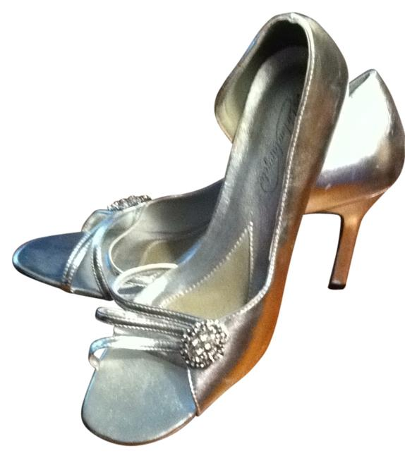 Item - Silver 3 Inch Stiletto Heels Embellished with Rhinestones Formal Shoes Size US 9