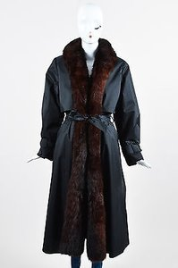 Neiman Marcus Brown Removable Fur Vest Full Length Long Sleeve Trench Trench Coat