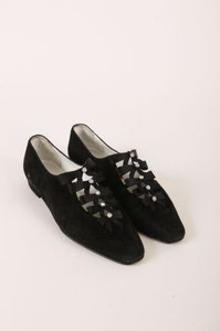 Saks Fifth Avenue Andrea Pfister Couture Black Suede Leather Rhinestone Bow Flats