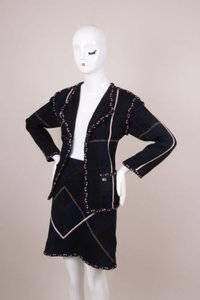 Chanel Chanel Navy Black White Cotton Wool Knit Braided Trim Skirt Suit