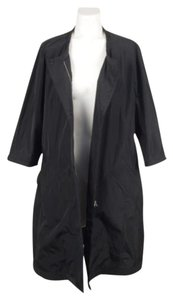 Narciso Rodriguez Black Lightweight Belted Collarless Windbreaker Coat Jacket
