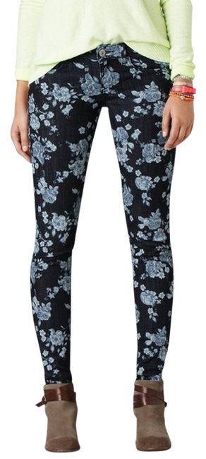 American Eagle Outfitters Denim Floral Blue Skinny Jeans