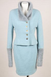Chloé Vintage Chloe Light Blue Wool Angora Boucle Skirt Suit