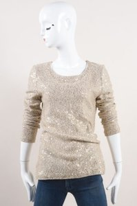 Oscar de la Renta Beige Gold Sequin Embellished Ls Knit Sweater