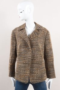 Akris Punto Brown Black Wool Blend Tweed Crop Sleeve Jacket