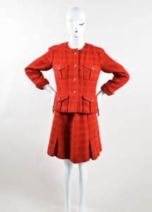 Chanel Vintage Chanel Red Gold-tone Wool Tweed Cc Buttons Belted Skirt Suit