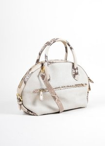 Salvatore Ferragamo Taupe Canvas Snakeskin Fiamma Handbag With Strap Shoulder Bag