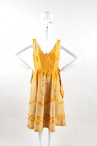 Hoss intropia short dress Yellow White on Tradesy