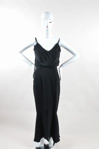 Black Maxi Dress by Chanel Vintage Boutique Silk Sleeveless Pleated Long Gown