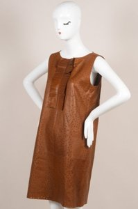 Fendi short dress Brown Preforated Sleeveless Leather Shift on Tradesy