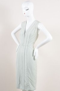 J. Mendel Mint Green Silk V Neck Sleeveless Sheath Dress