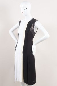 J. Mendel Black White Cream Silk Leather Trim Sl Pleated Dress