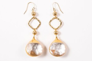 Sara Goldfine 14kt Gold Filigree Faceted Crystal Drop Dangling Earrings