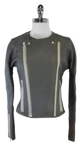 J Brand Marie Grey Leather Motorcycle Jacket