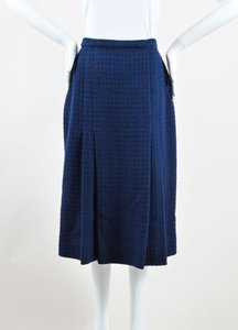 Chanel Navy Wool Tweed Midi Length Two Pleat Skirt Blue