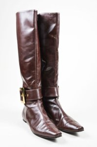 Manolo Blahnik Gold Tone Leather Buckled Knee High Flat Brown Boots