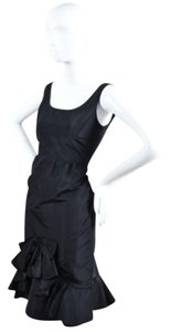 Oscar de la Renta Silk Taffeta Ruffle Bow Sleeveless Dress