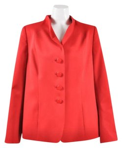 Other Algo Red Stretch Wool Long Sleeve Buttoned Blazer Jacket