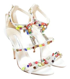 Oscar de la Renta Multicolor Leather Jewel Simona White Sandals