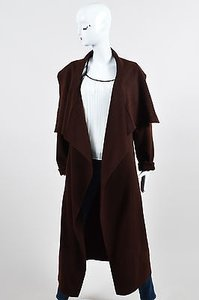Donna Karan York Dark Cashmere Shawl Collar Long Cardigan Brown Jacket