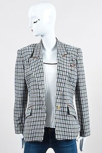 Herms Vintage Hermes Blue Brown Wool Cashmere Leather Trim Houndstooth Blazer
