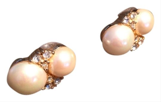 Dior Vintage Christian Dior Double Faux Pearls With Swarovski Crystals Earrings