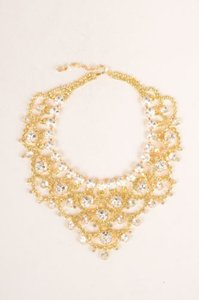 Other Lawrence Vrba Gold Tone Clear Green Oversized Bib Necklace