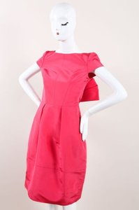 Oscar de la Renta Pink Silk Bow Back Cap Sleeve Bell Dress