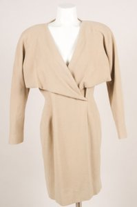 Jil Sander Wool Angora Wrap Long Short Sleeve Dress