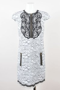 Andrew Gn Gn Black White Floral Lace Overlay Embroidered Dress