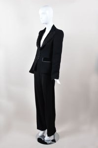Escada Escada Black Wool Ruffle Velvet Trim Jacket Tuxedo Pants Suit
