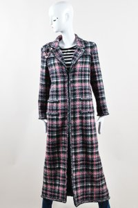 Chanel 04a Black White Silver And Pink Wool Tweed Flower Pin Long Coat
