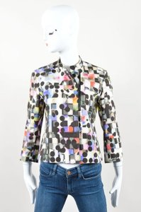 Akris Cotton Textured Abstract Print Button Zipper Front Multi-Color Jacket