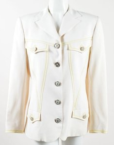 Versace Gianni Versace Cream Knit Embellished Button Up Long Sleeve Blazer Jacket
