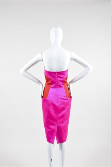 8b519c664d low-cost MARTIN GRANT Martin Grant Pink Red Cotton Silk Colorblock Strapless  Dress